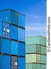 港口, 終端, 發貨, 容器