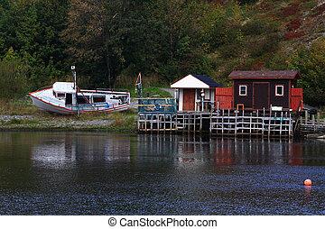 港口, 船舱, winterized, 船坞, newfoundland., quidi, 钓鱼, vidi