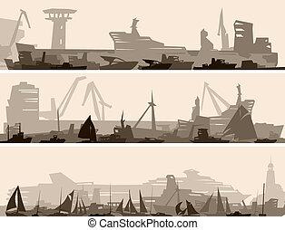 港口, 许多, 不同, ships.