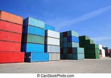 港口, 貨物容器, 堆, 貨物