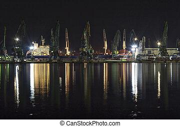 港口, 起重機, 夜晚