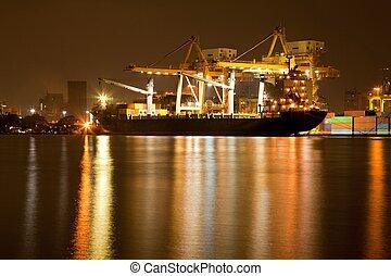 港口, 造船厂, 夜晚