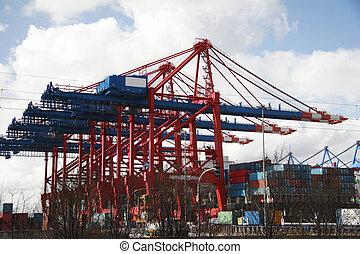 港口, (a), -, 著陸, 德國, 漢堡, 起重機, 階段