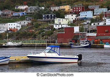 港口, newfoundland., 小, 村莊