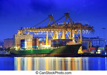 港, の, klongkuay, -, バンコク, ∥で∥, 青, 晴れわたった空