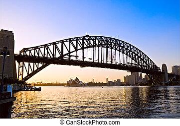 港, 夜明け, シドニー