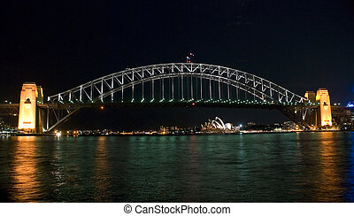 港, 橋, シドニー, 夜