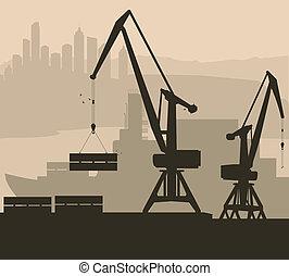港, 港, ベクトル, 背景, 船, クレーン