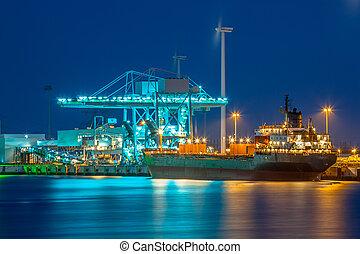 港, 船, 貨物, 夜