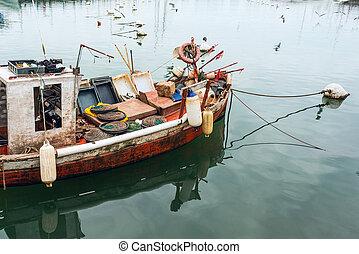 港, este, punta, ウルグアイ, del, 釣り, クラシック, ボート, 赤