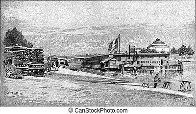 港, pont, vin, les, coches, d'austerlitz, 光景