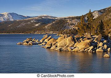 港, shoreline., 湖, 木, 岩, 砂, tahoe, 日没, ネバダ