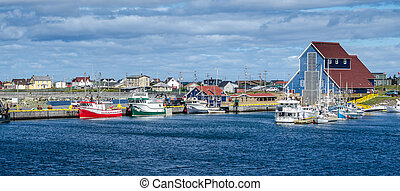 港, villages', つながれる, bonavista, ニューファンドランド, 漁船, canada.
