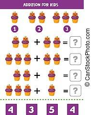 游戏, 卡通漫画, 增加, 万圣节前夜, 数学, 漂亮, cupcake.