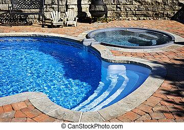 游泳池, 带, 热的浴盆