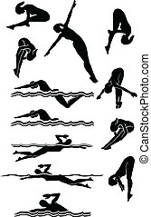 游泳, &, 跳水, 女性, 黑色半面畫像