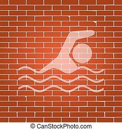 游泳, whitish, 墙壁, 标志。, 水, 背景。, vector., 砖, 运动, 图标