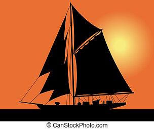 游艇, 在, the, 海
