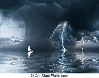 游艇, 雷雨, 大海