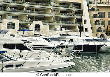 游艇, berthed, 在, spinola, 海灣, 街, julian's, slima, 馬耳他