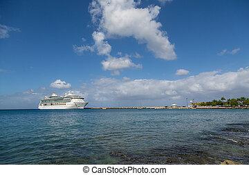 游覽班船, 上, 藍色, 海灣, 在下面, 好, 云霧