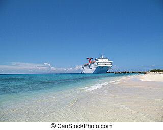 游覽班船, 在, 港口