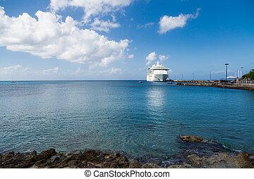 游覽班船, 橫跨, 藍色, 海灣, ......的, st croix