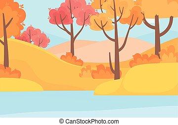 湖の 森林, 木, 秋, 自然場面, 風景, 草
