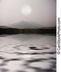 湖畔, 山, 月