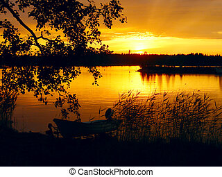 湖, ∥において∥, 日没, ∥で∥, ボート