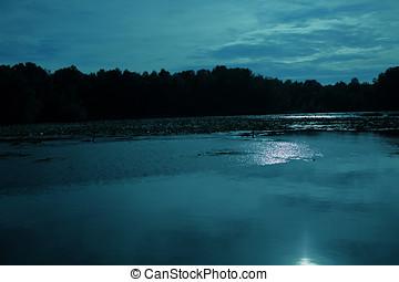 湖, によって, 夜