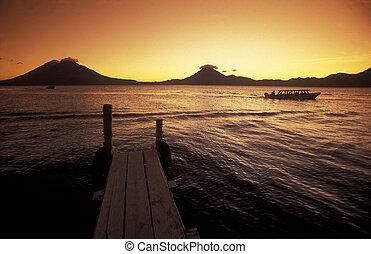 湖, アメリカ, ラテン語, guatemala, atitlan