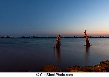 湖, イタリア, 釣り, 夜