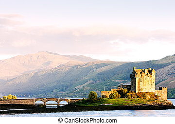湖, スコットランド, donan, 城, eilean, duich