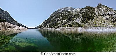 湖, パノラマ, cavallers, カタロニア語, ピレネー山脈
