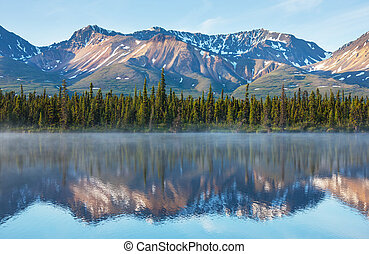 湖, 上に, アラスカ
