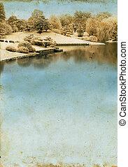 湖, 上に, a, グランジ, 背景