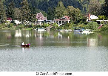 湖, 前部, 特性, 森林地帯, wa。