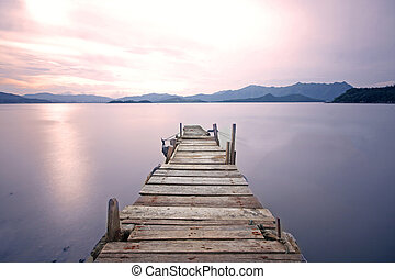 湖, 古い, 突堤, 通り道, 桟橋