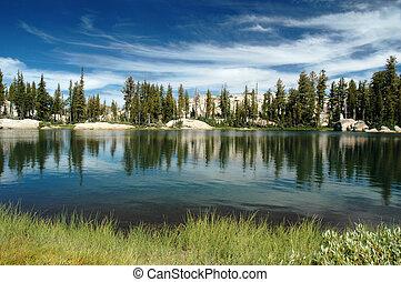 湖, 同时,, 天空