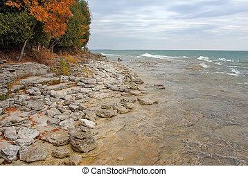 湖, 向前, 波浪, 密執安, 海岸