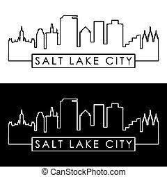 湖, 塩, skyline., style., 都市, 線である