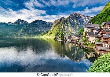 湖, 夜明け, オーストリア, hallstatt, ヨーロッパ, アルプス, すばらしい, 山