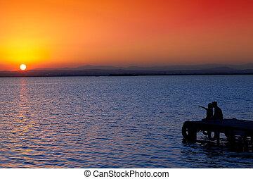 湖, 娘, 突堤, 日没, 母