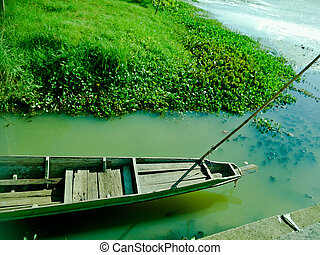 湖, 小船, 釣魚