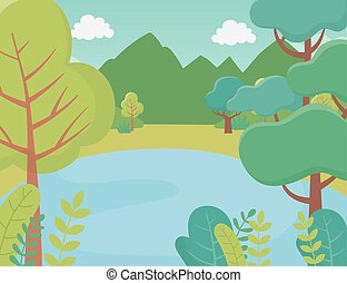 湖, 山, 群葉, 風景, 草木の栽培場, 自然, 木, イメージ