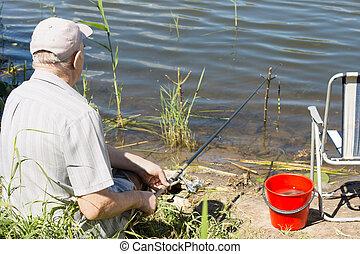 湖, 年長, 水, 釣魚, 新鮮, 人