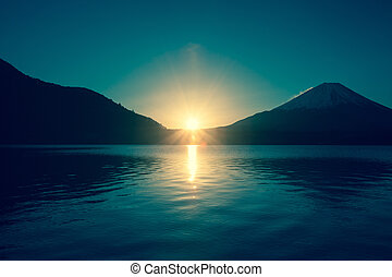 湖, 広がり, 明るい, 日の出