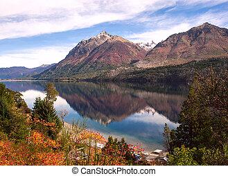 湖, 秋, 色, bariloche, アルゼンチン, gutierrez, patagonia