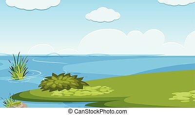 湖, 緑の背景, デザイン, 草, 風景